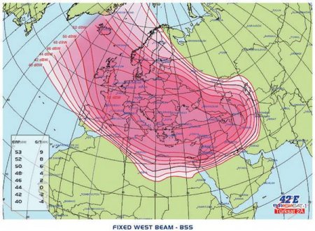 Eurasiasat 1, 42E, западный луч