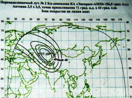 """""""Экспресс-АМ33"""" Карты покрытия спутника"""